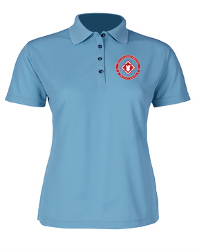 20th Engineer Brigade Ladies Embroidered Moisture Wick Polo Shirt-Proud
