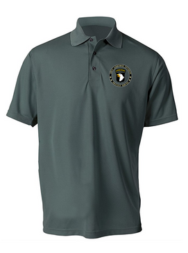 101st Airborne Division Embroidered Moisture Wick Polo-Proud
