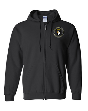 101st Airborne Division Embroidered Hooded Sweatshirt with Zipper-Proud