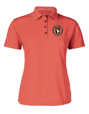 Ladies 101st Airborne Division Embroidered Moisture Wick Polo Shirt-Proud