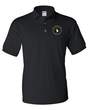 101st Airborne Division Cotton Embroidered Cotton Polo Shirt-Proud