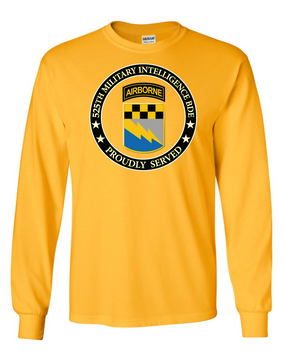 525th Expeditionary MI Brigade (Airborne) Long-Sleeve Cotton T-Shirt-Proud (FF)