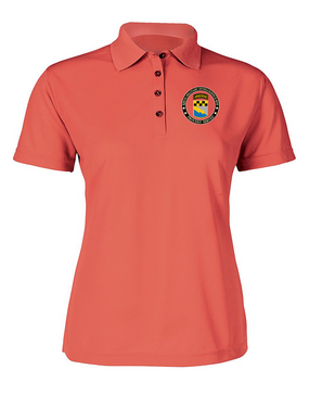 525th Expeditionary MI Brigade (Airborne)  Ladies Embroidered Moisture Wick Polo Shirt-Proud