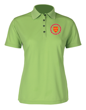 32nd Army Air Defense Command Ladies Embroidered Moisture Wick Polo Shirt-Proud