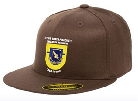 1-504th Crest & Flash Premium Embroidered Flexdfit Baseball Cap