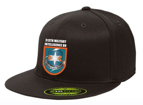 313th MI Crest Flash Embroidered Flexdfit Baseball Cap