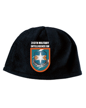 313th MI Crest Flash Embroidered Fleece Beanie