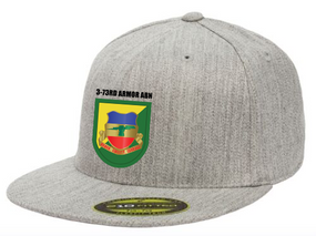 3-73rd Armor Crest Flash Embroidered Flexdfit Baseball Cap
