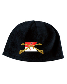 1-17th Cav Guidon Embroidered Fleece Beanie