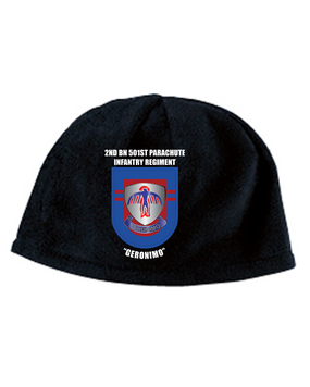 2-501st Crest Flash Embroidered Fleece Beanie