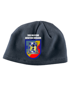 "3-82nd Aviation ""Crest/Flash""  Embroidered Fleece Beanie"