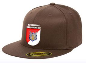 "1/17th Cavalry Regiment (Airborne) ""Crest/Flash"" Embroidered Flexfit Baseball Cap"