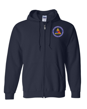3rd Armored Division Embroidered Hooded Sweatshirt with Zipper (OS)