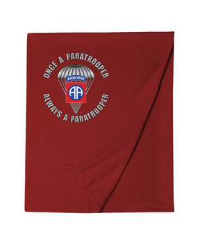 """82nd Airborne """"Once a Paratrooper"""" Embroidered Dryblend Stadium Blanket"""
