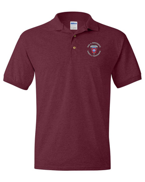 """82nd Airborne """"Once a Paratrooper"""" Embroidered Cotton Polo Shirt"""
