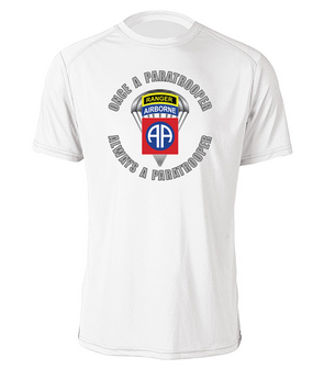 """82nd Airborne """"Once a Paratrooper-Ranger""""  Cotton T-Shirt (FF)"""