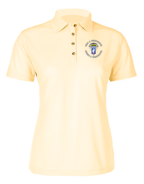 "Ladies 173rd Airborne ""Once a Paratrooper-Ranger""  Embroidered Moisture Wick Polo Shirt"