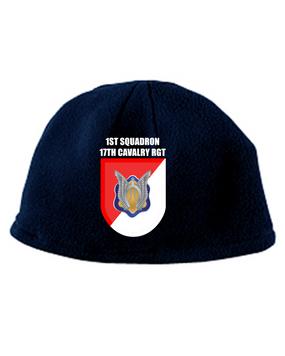 """1-17th Cavalry Regiment (Airborne) """"Crest """"Embroidered Fleece Beanie"""