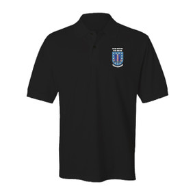 "1-187th Regimental Combat Team ""Crest & Flash"" Embroidered Cotton Polo Shirt"