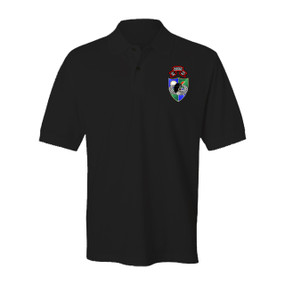 "1- 75th Ranger Battalion DUI ""Original Scroll"" - Black Beret Embroidered Cotton Polo Shirt"