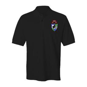 "1- 75th Ranger Battalion DUI ""Original Scroll"" - Black Beret Embroidered Cotton Polo Shirt"