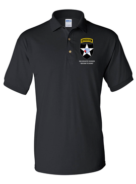 2nd Infantry Division w/ Ranger Tab Embroidered Cotton Polo Shirt