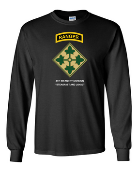 4th Infantry Division w/ Ranger Tab Long-Sleeve Cotton Shirt -(FF)