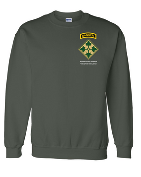 4th Infantry Division w/ Ranger Tab Embroidered Sweatshirt