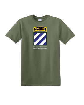 3rd Infantry Division w/ Ranger Tab Cotton T-Shirt-(Chest)