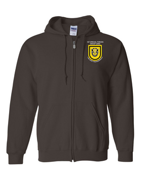 1st Special Forces Group Embroidered Hooded Sweatshirt with Zipper