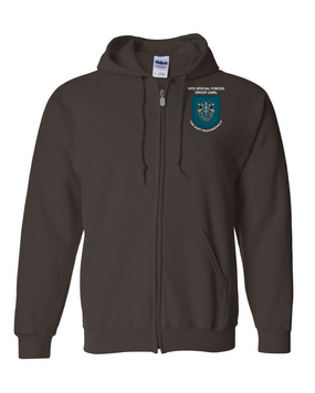 19th Special Forces Group  Embroidered Hooded Sweatshirt with Zipper