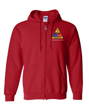 3rd Armored Division Embroidered Hooded Sweatshirt with Zipper