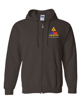 2nd Armored Division Embroidered Hooded Sweatshirt with Zipper