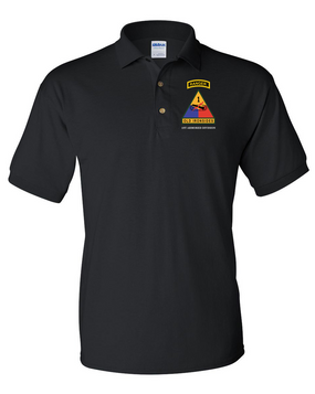 1st Armored Division w/ Ranger Tab Embroidered Cotton Polo Shirt