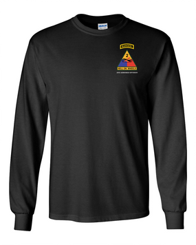 2nd Armored Division w/ Ranger Tab Long-Sleeve Cotton Shirt-(Pocket)