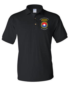 9th Infantry Division w/ Ranger Tab Embroidered Cotton Polo Shirt