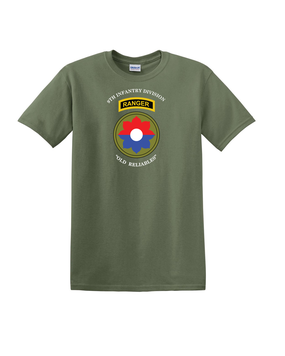 9th Infantry Division w/ Ranger Tab Cotton T-Shirt (Chest)