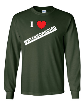 """I Love Waterboarding"" Long-Sleeve Cotton Shirt"