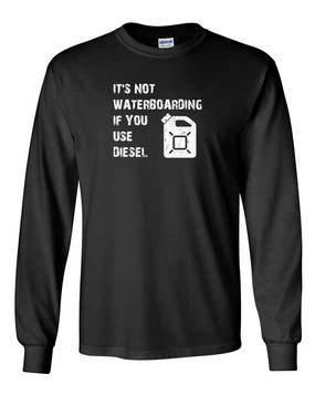 Water Boarding w/ Diesel Long-Sleeve Cotton Shirt