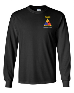 3rd Armored Division w/ Ranger Tab Long-Sleeve Cotton Shirt-(Pocket)