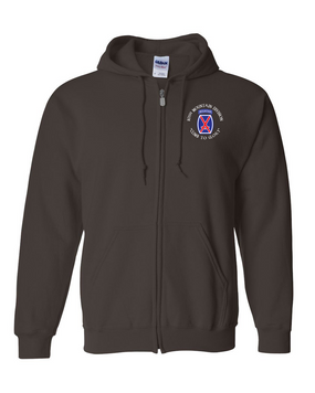 10th Mountain Division Embroidered Hooded Sweatshirt with Zipper
