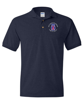 10th Mountain Division Embroidered Cotton Polo Shirt (C)