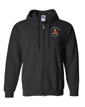 1st Armored Division Embroidered Hooded Sweatshirt with Zipper (C)