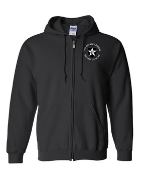 2nd Infantry Division Embroidered Hooded Sweatshirt with Zipper (C)