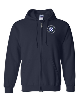 3rd Infantry Division Embroidered Hooded Sweatshirt with Zipper (C)