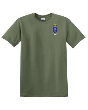 8th Infantry Division Airborne w/ Ranger Tab Cotton T-Shirt -Pocket