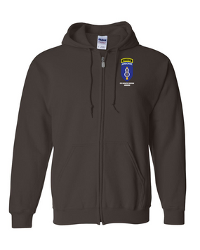 8th Infantry Division Airborne w/ Ranger Tab Embroidered Hooded Sweatshirt with Zipper