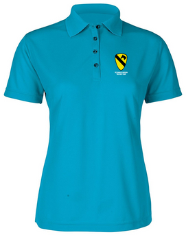 Ladies 1st Cavalry Division Embroidered Moisture Wick Polo Shirt