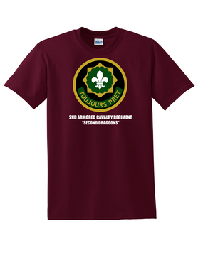 2nd Armored Cavalry Regiment Cotton T-Shirt -Chest