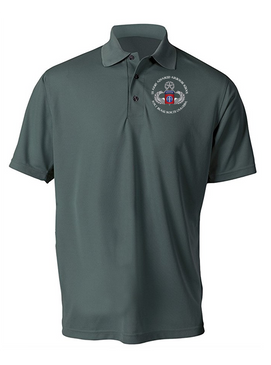 US Army Advanced Airborne School -Ft Bragg Embroidered Moisture Wick Polo